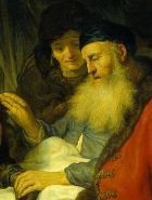 Rebecca decieves Isaac, Govert Flinck, detail of the painting