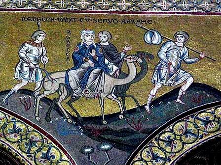 Rebecca journeys to meet Isaac, Monreale, Sicily, mosaic