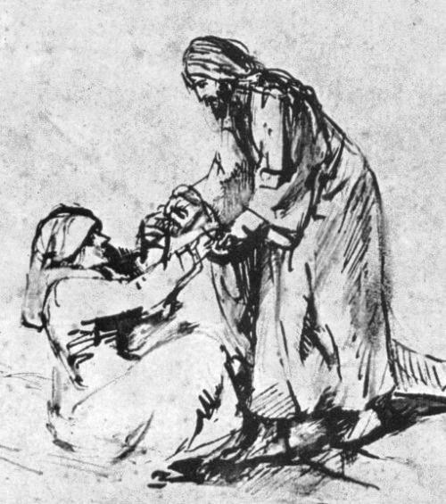 Jesus heals the mother-in-law of Peter, Rembrandt sketch