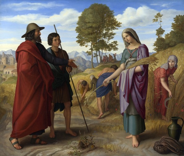 Ruth and Naomi in Bible Paintings: Ruth in Boaz' Field, Julius Schnorr von Carolsfeld, Bible Art Gallery: paintings from the Old and New Testaments