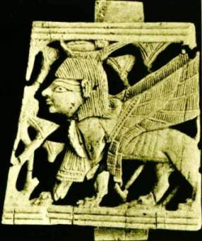 Jezebel, Bible princess. A small piece of an ivory plaque retrieved from the ruined city of Samaria, in which Jezebel lived