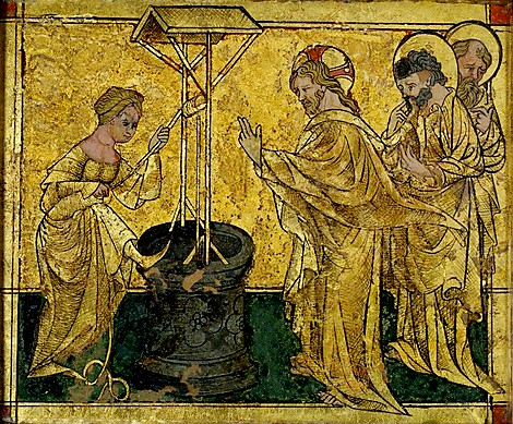 Jesus and the Samaritan Woman at the Well, German, 1420. The Samaritan woman, the woman at the well