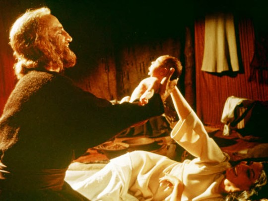 Sarah and Abraham with the newly born Isaac; still from the movie 'The Bible'