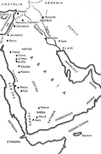 Map of Sheba and Israel