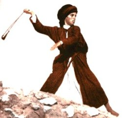 Young People in the Bible: David. A young boy using a sling shot