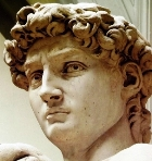 Michelangelo's statue of the young David, detail