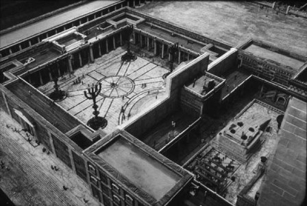 A reconstruction of the Temple of Jerusalem at the time of Jesus. The Women's Court is the large area in the center left.