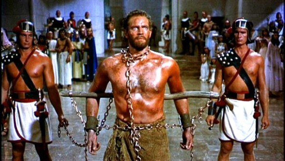 Bible movies, films. The Ten Commandments. Moses in chains at the court of the Pharaoh