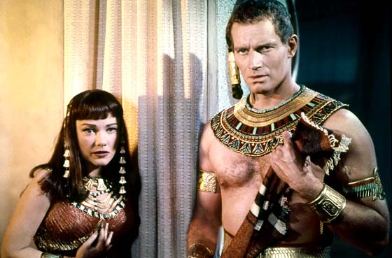 Bible movies, films. Charlton Heston as Moses confronts his Hebrew identity in 'The Ten Commandments'