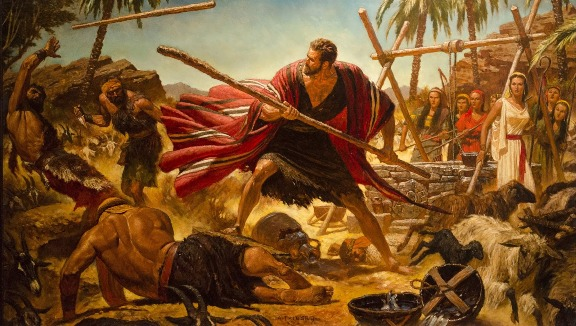 Painting: Moses sends the bullies packing! Painting of a scene in 'The Ten Commandments'