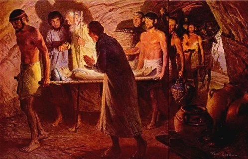 The Burial of Sarah, painting showing bier and interior of tomb