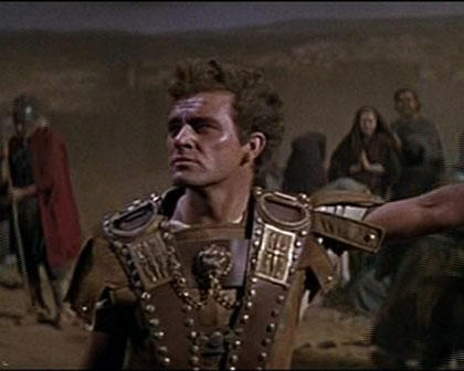 Bible movies, films. Marcellus (Richard Burton) is present at the crucifixion of Jesus in 'The Robe'