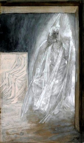 Angels at the entrance of the tomb of Jesus, James Tissot