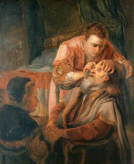 Tobit and the angel Raphael cure his father's blindness, Gerrit Horst