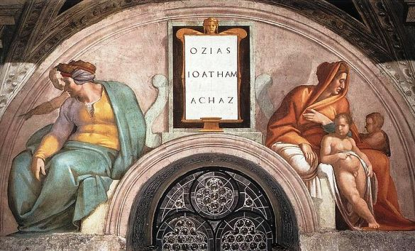 Bible princess: Jerusha. Michelangelo, Sistine Chapel ceiling, section for Ozias, Ioatham and Achaz (Uzziah, Jotham, Ahaz)