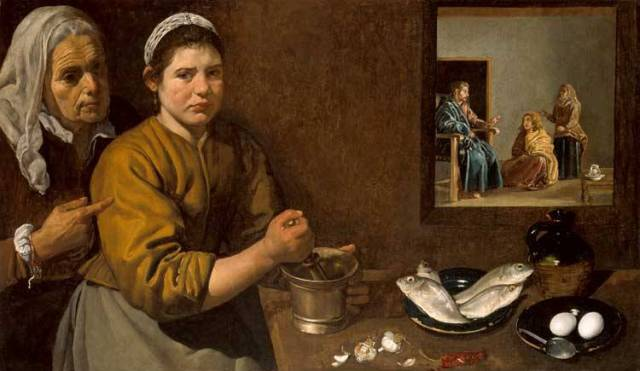 Kitchen scene with Christ in the house of Martha and Mary, Diego da Silva Velazquez, 1618