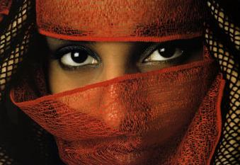The Levirate Law. Woman with beautiful eyes and veiled face