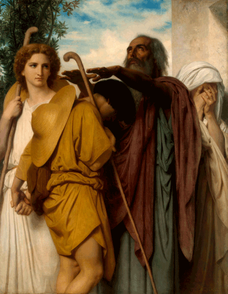 Book of Tobit: The departure of Tobit with the angel Raphael