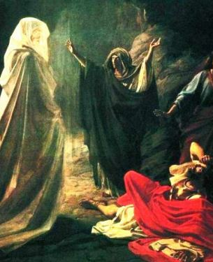 The witch of Endor summons Samuel