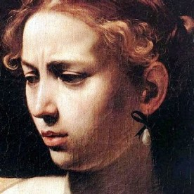 Caravaggio, Judith and Holofernes, detail of Judith's head