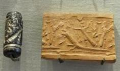 Ancient seal with imprint in clay