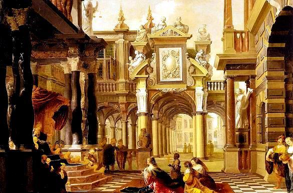 King Solomon receives the Queen of Sheba at his court Dirck van Delen