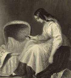 The Empty Cradle, Victorian-era etching