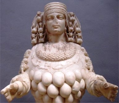 Copy of a statue of the Ephesian goddess Artemis, patron goddess of mothers and pregnant women
