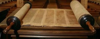 Torah scrolls in a synagogue