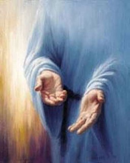 Jesus and the crippled woman: Jesus' hands reach out