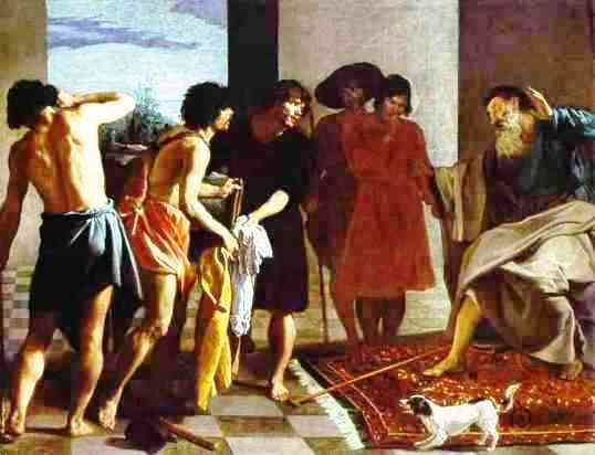 Young People in the Bible: Joseph and his brothers. Jacob sees the blood-stained coat of Joseph, Velazquez
