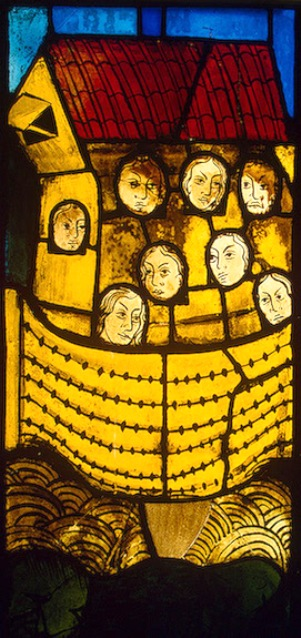 Stained glass window of Noah and his family in the Ark, Marienkirche, Germany