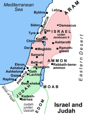 Map of Israel and Judah