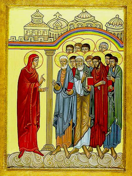 Icon of Mary Magdalene instructing the Apostles