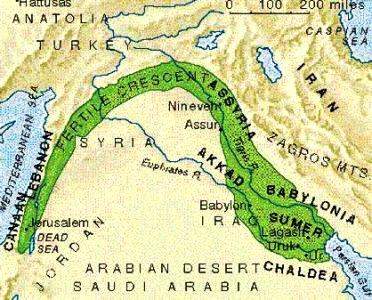 Map of Mesopotamia, the land between the two rivers, the Tigris and the Euphrates
