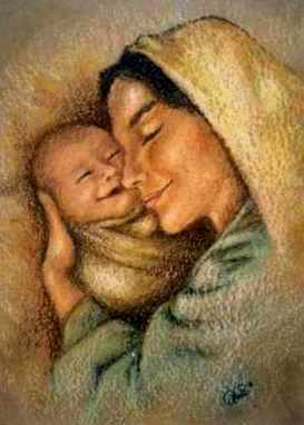 Young people in the Bible: Ruth. Young happy mother with her newborn baby, painting
