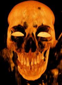 Frightening image of a skull