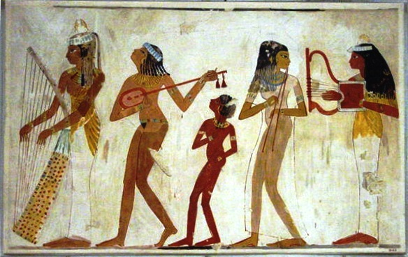 Egyptian musicians with lyres and harps, both mentioned in the Bible story