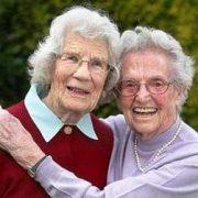 Two elderly women friends