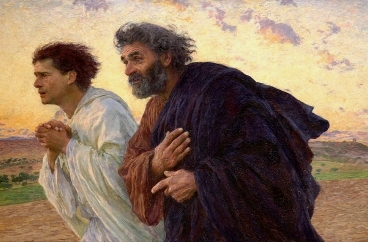 Peter and John run towards the tomb of Jesus