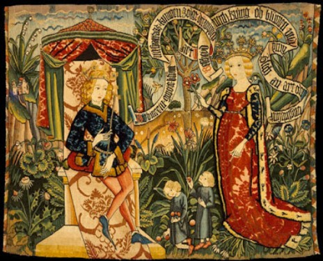 Medieval tapestry depicting the meeting of the Queen of Sheba and King Solomon