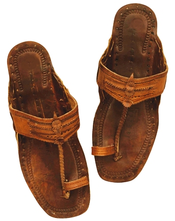 Pair of worn leather sandals