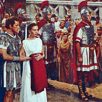 Bible movies, films. Marcellus and Diana confront Caligula in 'The Robe'
