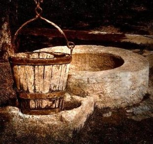 Wooden bucket beside a stone well