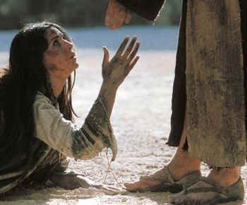 Woman taken in adultery: Bible women: Jesus reaches his hand out to the battered woman