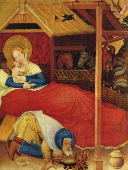Painting of Mary, Jesus and Joseph, Nativity: Conrad von Soest, 1403