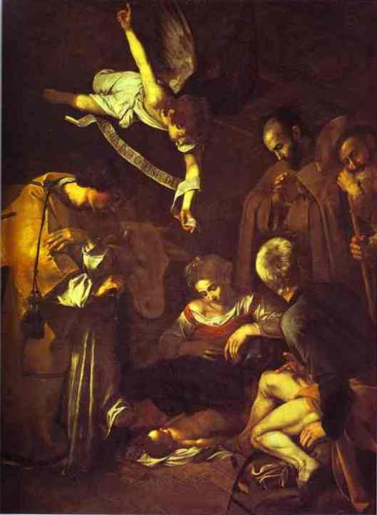 Paintings of the birth of Jesus: The Nativity with Sts Francis and Lawrence, Caravaggio, 1609