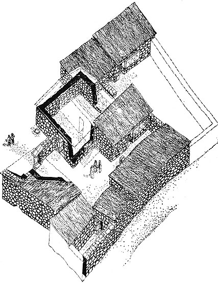 Ancient houses and clothes: Artist's reconstruction of a 1st century household complex