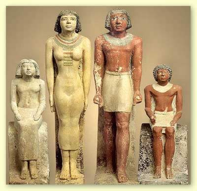 A family group in ancient Egypt. In reality, a family was much larger than this