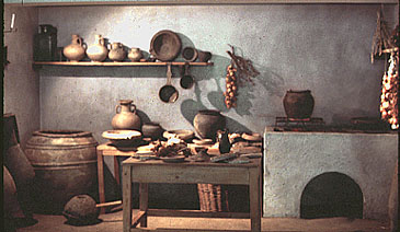 Ancient houses: Reconstruction of a kitchen in Roman times